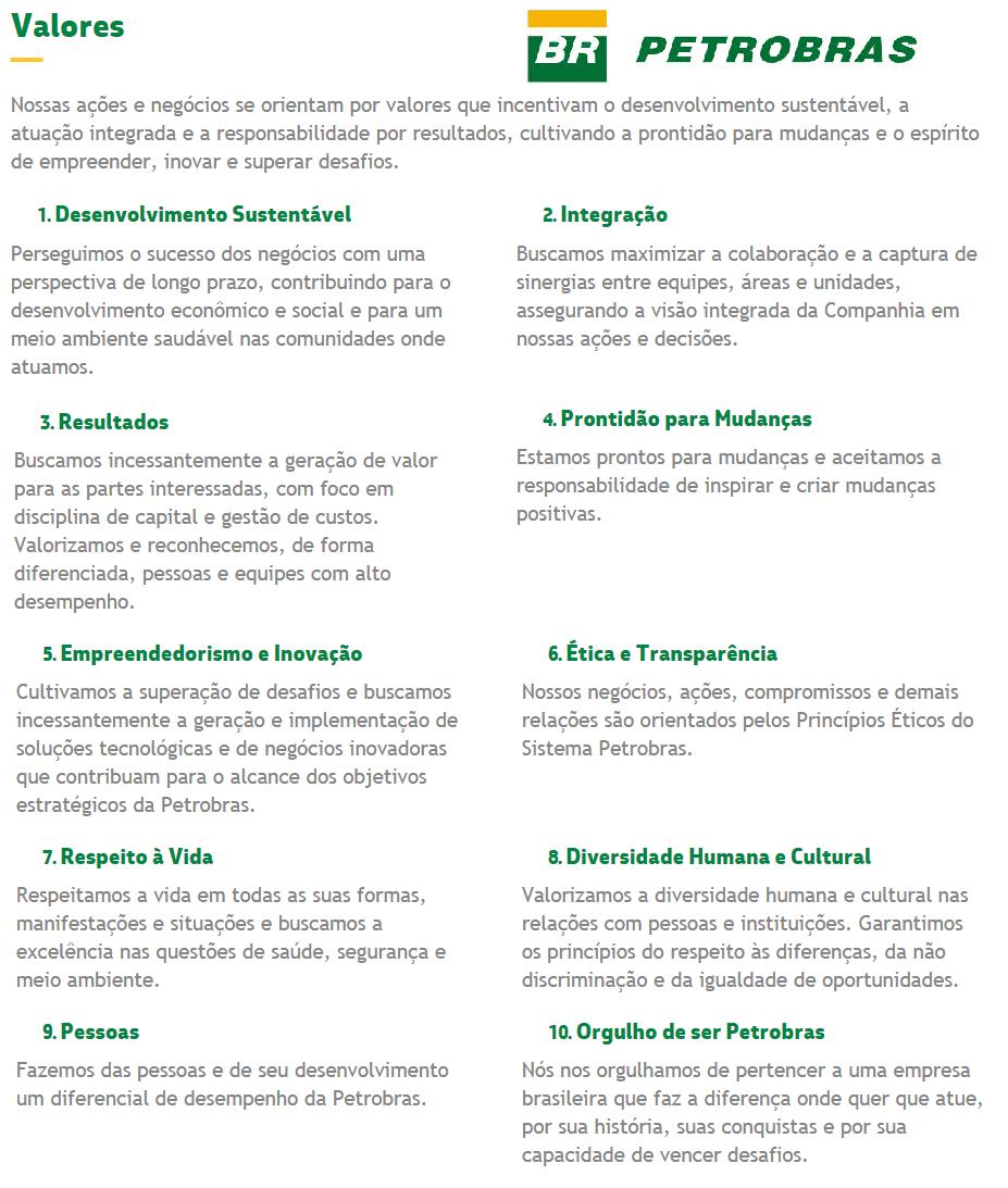 missão visão e valores - Petrobrás - valores