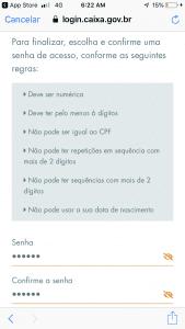 tela senha app fgts
