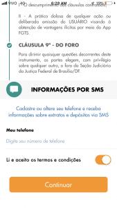 tela app fgts informações sms