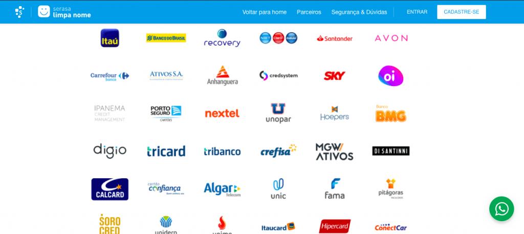 Empresas participantes do Feirão Serasa